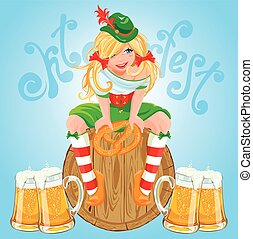 Pretty Bavarian girl with beer and pretzel, Oktoberfest card.