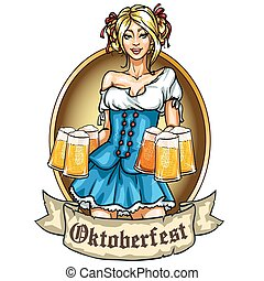 Pretty Bavarian girl with beer, Oktoberfest label with ...