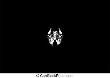 Pretty Beauty Praying Angel Woman Lady Girl for Tattoo Logo Design Vector