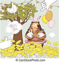 Pretty Bird and Cute Cartoon Bear with the balloons holding two little bunnies. Miss you card design. Hand Drawn Watercolor elements.