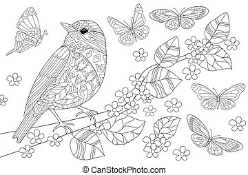 pretty bird in on branch of tree for your coloring book