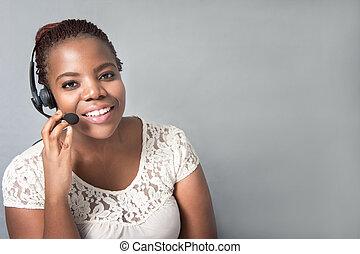 Pretty black woman call center agent talking