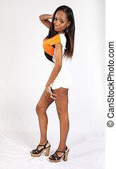 Pretty black woman in a dress