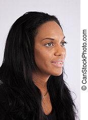 Pretty Black woman in black blouse