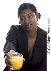 pretty black womanwith orange juice