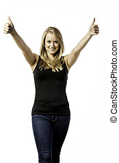 Pretty blond girl helds her two thumbs up