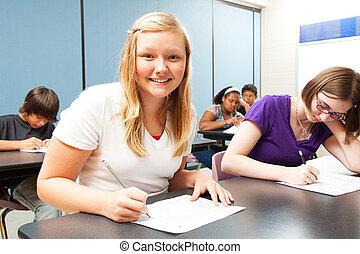 Pretty Blond Girl in Class