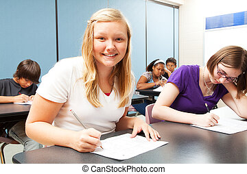 Pretty Blond Girl in Class
