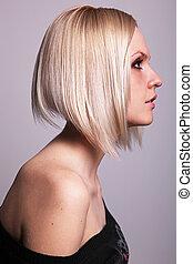 Pretty blond girl in profile