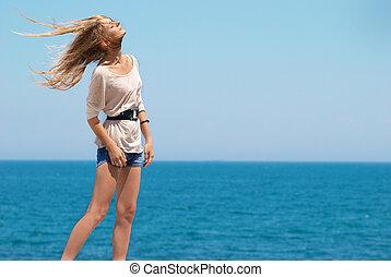 Pretty blond girl outdoors - Beautiful blond girl outdoors...