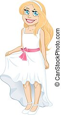 Pretty Blond Girl With White Dress And Bow - Vector...