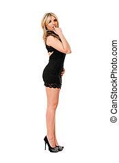 Pretty blond lady in black