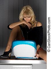 e-mail - pretty blond reading e-mail
