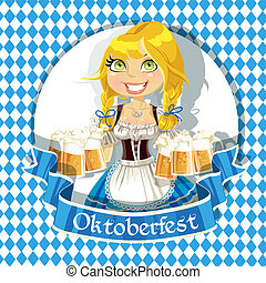 Pretty Blond with a glass of beer celebrating Oktoberfest banner