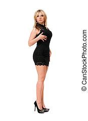 Pretty blond woman in black