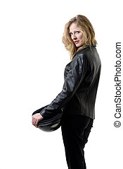 Pretty blond woman in leather - Attractive girl in leather...