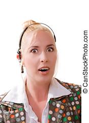Pretty blond woman in shock