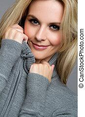 Pretty Blond Woman - Pretty blond winter sweater woman