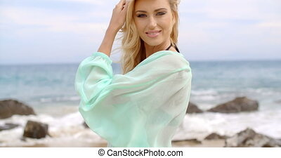 Pretty Blond Woman Wearing Light Mint Beachwear