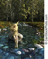 Pretty Blonde Fairy Paddling in a Forest Stream