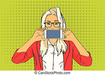 Pretty Blonde Girl Hold Cell Smart Phone Pop Art Colorful Retro Style