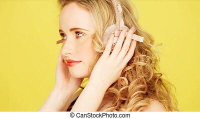 Pretty blonde girl with headphones