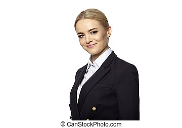 Pretty blonde in business outfit - Portrait of pretty blonde...