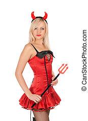 Pretty blonde is wearing a devil costume