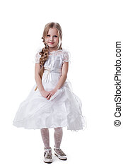 Pretty blonde kid in white dress