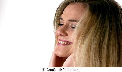 Pretty blonde listening to music