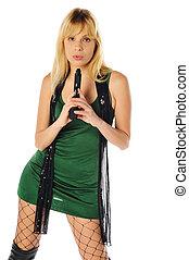 pretty blonde with a gun