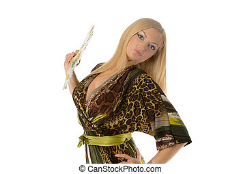 pretty blonde with a hand fan isolated