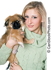 Pretty blonde with a pekinese