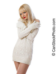 Pretty blonde woman in knitted dress - Beautiful young woman...