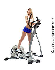 Pretty blonde woman on exerciser