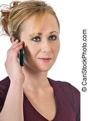 Pretty blonde woman using a cell phone