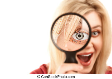 Pretty Blonde Woman with Magnifying Glass