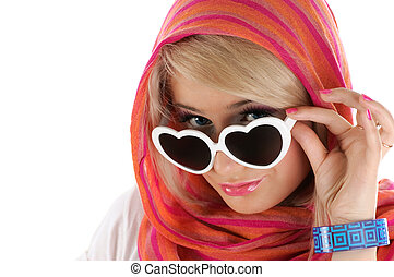Pretty blonde woman with sun glasses