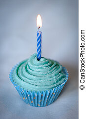 Pretty Blue Cupcake with Blue Candle on top - Pretty Blue...