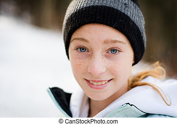 pretty blue eyed teen girl
