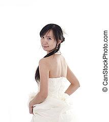 pretty bride look back