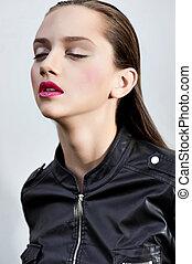 pretty women brunet beauty portrait touch face