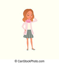 Pretty brunette girl posing in t-shirt, pink jacket, scarf and striped skirt. Stylish female clothes. Cartoon teenager character Colored flat vector design