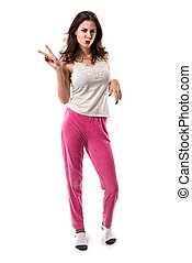 Pretty brunette girl with pajamas making victory gesture