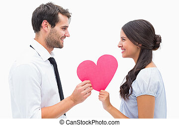 Pretty brunette giving boyfriend her heart
