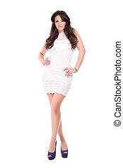 Pretty brunette in white dress
