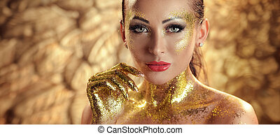 Pretty brunette lady with golden skin