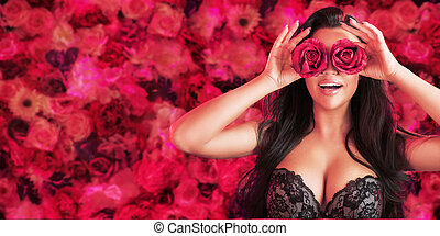 Pretty brunette wearing the rose bincoculars