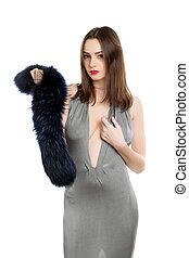 Pretty brunette with fur