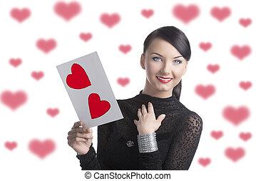 pretty brunette with valentine postcard smiles